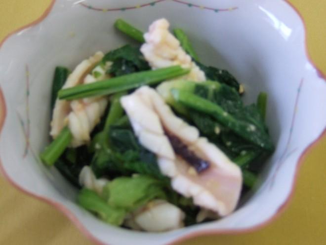 イカと八色菜のからしみそ和え