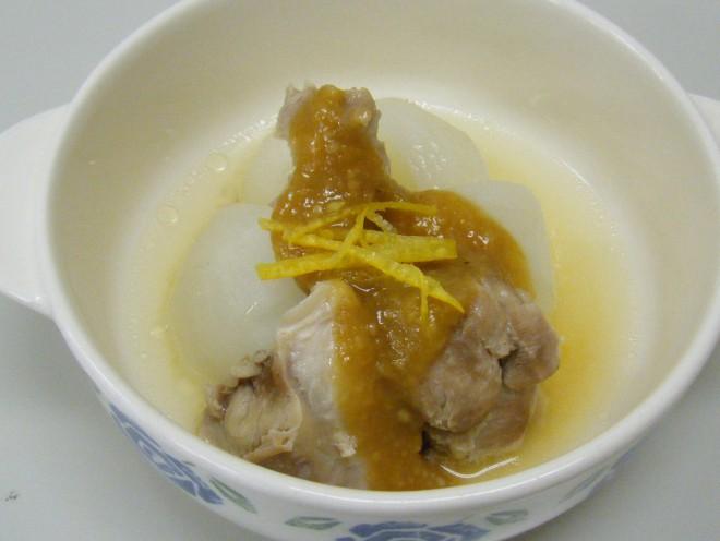 カブと鶏肉のゆずみそかけ