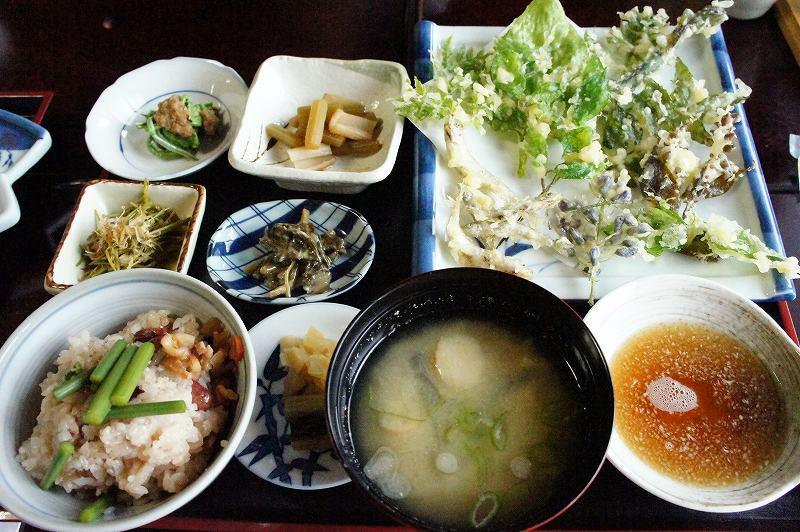 いろりじねん 季節 摘み草と山菜のてんぷら定食(ご飯)