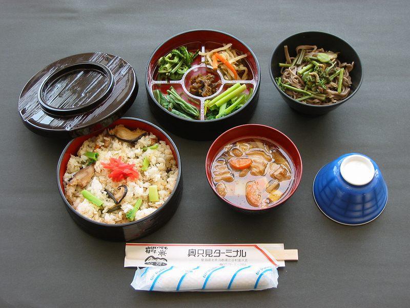 奥只見ターミナル 山菜わっぱ定食B(団体予約メニュー)